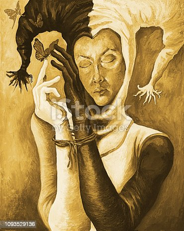 Fashionable illustration modern art work my original oil painting on canvas sepia impromptu fantasy impressionism portrait face figure girl in harlequin costume with hands tied and flying butterflies on brown background
