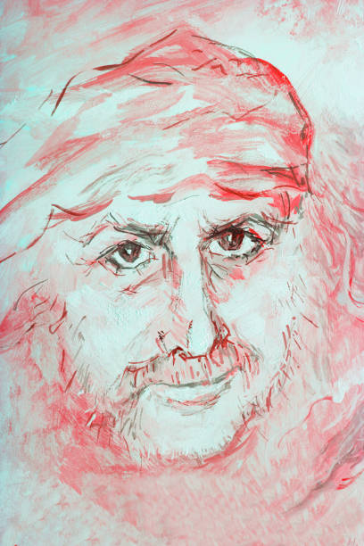 fashionable illustration modern art work my original oil painting on canvas portrait of a beautiful courageous man with long hair fluttering in the wind in art nouveau style in delicate light red tones - old man portrait drawing stock illustrations, clip art, cartoons, & icons