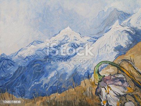 Fashionable illustration modern art work my original oil painting on canvas impressionism spring mountain landscape with snow-capped mountains and edelweiss blooming against a blue sky and clouds