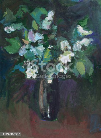 Fashionable illustration modern art work my original oil painting on canvas impressionism spring still life vertical bouquet of bird cherry branches in a vase of dark glass against the background of evening twilight