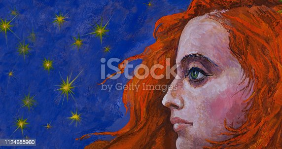 Fashionable illustration modern art work my original oil painting on canvas evening horizontal portrait profile of a girl with long red hair and green eyes against the night dark blue sky and sparkling stars