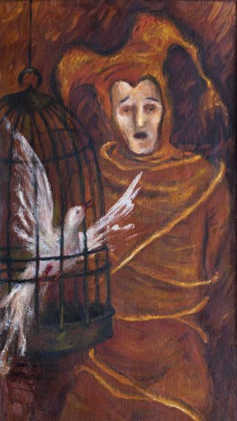 illustrations, cliparts, dessins animés et icônes de l'art moderne à la mode illustration travailler mon original peinture à l'huile sur toile impressionnisme de portrait vertical fantaisie l'homme le bouffon de costume de scène théâtrale lié par des cordes en chantant avec un oiseau blanc dans u - cage animal nuit