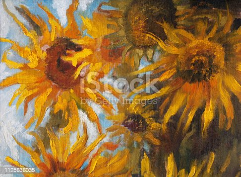 Fashionable illustration modern art work my original oil painting on canvas impressionism summer landscape blooming yellow Helianthus annuus on a field against the sky and clouds