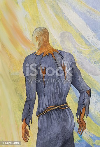 Fashionable illustration modern art work my original oil painting on canvas allegory vertical symbolic picture portrait figure man man in old gray clothes walks to the light from the darkness of life problems against the sunshine of sky and clouds