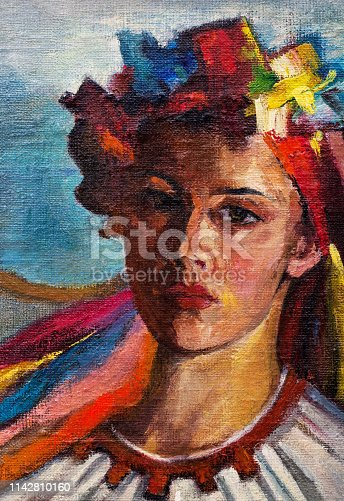 Fashionable illustration modern art work my original oil painting on canvas impressionism vertical portrait of a beautiful young girl Ukrainian in national celebratory clothes and a headdress of flowers with multicolour ribbons against the background of bright blue sky and white clouds
