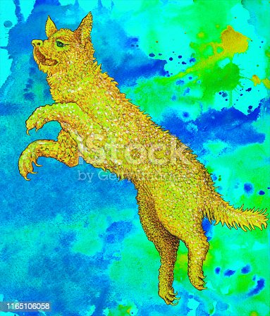 Fashionable illustration modern art work my original oil painting on canvas allegory symbolic fantasy painting fabulous fire dog on a bright blue background