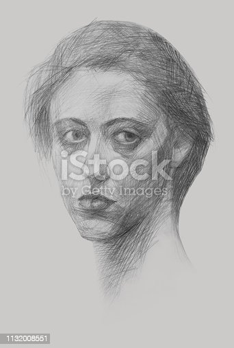 Fashionable illustration modern art work my original pencil drawing on paper vertical portrait impressionism face of a young beautiful determined purposeful bold free girl with long hair and bright eyes on a white paper background