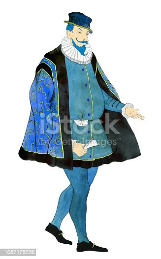 Fashionable illustration modern art work my original watercolor painting historical portrait figure of a male aristocrat in a suit and baroque style hat on white paper background