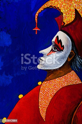 Fashionable illustration modern artwork allegory my original oil painting on canvas symbolic vertical portrait stage character Harlequin clown male profile in a theatrical costume of bright shades of red with a polka dot collar of shiny fabrics headdress with bells and a carnival white mask against a bright blue night sky