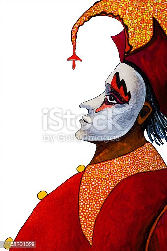 Fashionable illustration modern artwork allegory my original oil painting on canvas symbolic vertical portrait stage character Harlequin clown male profile in a theatrical costume of bright shades of red with a polka dot collar of shiny fabrics headdress with bells and a carnival white mask on a white background