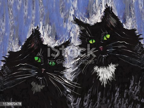 Fashionable illustration modern artwork impressionism my original painting gouache acrylic horizontal portrait of a coupleblack domestic cat with green eyes on a blue wall background.