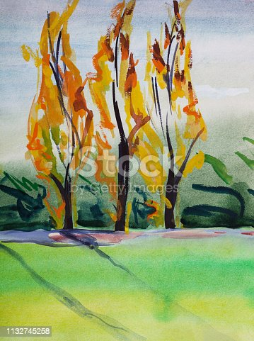 Fashionable illustration modern artwork my original painting with watercolors on paper  vertical landscape impressionism trees and green lawn sun and wind in the poplars against the bright blue sunny sky