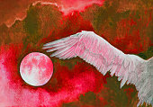 Fashionable illustration modern artwork my original watercolor painting impressionism horizontal symbolic sky landscape setting sun in the clouds and a wing of a flying white bird in intense red hues against the sky in the form of spreading red paint