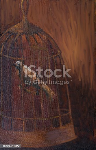 Fashionable illustration modern symbolic work of art my original oil painting on canvas vertical still life singing white bird in a closed iron cage dreaming of freedom of flight on an evening dark brown background