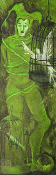 illustrations, cliparts, dessins animés et icônes de illustration à la mode œuvre moderne de l'allégorie d'art de la peinture à l'huile de captivité sur le portrait de toile dans le modèle de figure de symbolisme d'un homme chantant dans le costume théâtral d'un bouffon lié par des cordes  - cage animal nuit