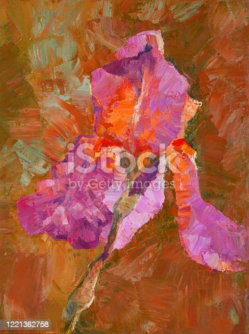 Fashionable illustration modern work of art allegory of spring flowers oil painting on canvas impressionism vertical landscape bright purple iris flower and bud lit by the sun on a reddish background of the morning sunrise