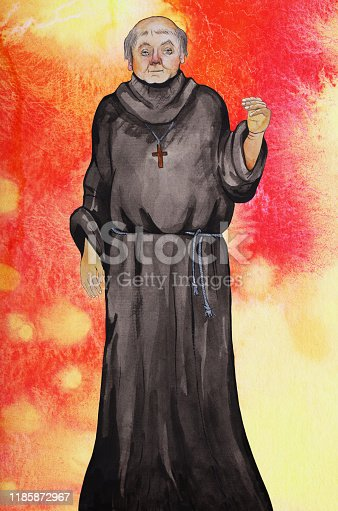 Fashionable illustration modern work of art allegory religion catholicism watercolor painting impressionism vertical portrait of an elderly bald priest monk in a black cassock on a red background from spreading watercolor