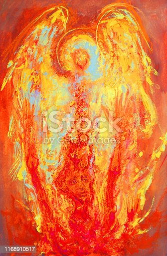 Fashionable illustration modern work of art allegory sacred religious painting mural my original oil painting on canvas sunny bright glowing guardian angel saving a sinful man from hell with a prayer of repentance for the forgiveness of sins on a decorative abstract ornamental background in reddish golden colors
