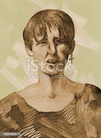 Fashionable illustration modern work of art my drawing in sepia pencil on paper portrait figure young male guy street hooligan in khaki tattered clothes on light brown background