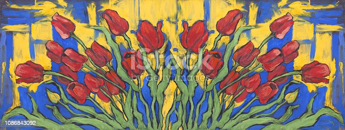 Fashionable illustration modern work of art my original decorative oil painting on canvas impressionism flowers spring horizontal landscape blooming red tulips against the background of the proud landscape and the blue evening sky