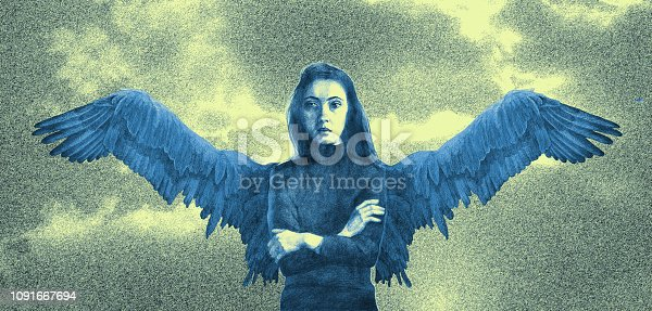 Fashionable illustration modern work of art my original drawing in yellow tones horizontal portrait of a girl in the form of an angel against the sky and clouds