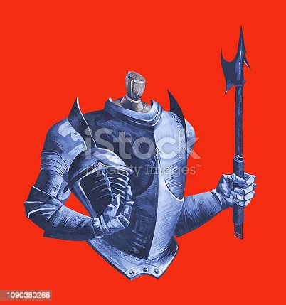 Fashionable illustration modern work of art my original gouache on a historical theme men's medieval armor and halberd of metal on a mannequin on a red bright background