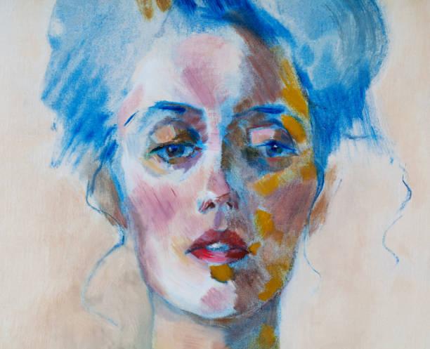 Des travaux d'art moderne de l'illustration à la mode mon original peinture à l'huile sur toile portrait d'impressionnisme d'une belle femme avec les cheveux longs se sont réunis dans un noeud - Illustration vectorielle
