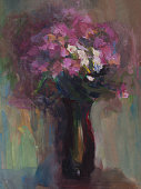 Fashionable illustration modern work of art my original oil painting on canvas in the power of impressionism vertical still life flowers a bouquet of phlox in a vase of dark glass against the background of the evening dim light.