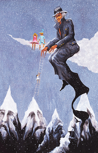 Fashionable illustration modern work of art my original painting winter festive fantastic landscape with people sitting on the clouds and snow-capped mountain peaks climbers and skiers against the sky of falling snow and snowflakes