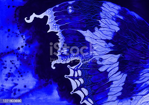 Fashionable illustration modern work of art my original painting with watercolors on paper horizontal spring night decorative landscape wing of a beautiful butterfly against a darkening sky and drops of flowing watercolor in violet and dark blue