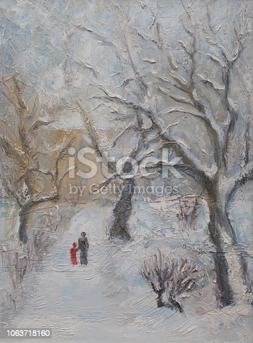Fashionable illustration my oil painting on canvas landscape winter street walking in the snow mom and child among the snow-covered trees against the background of falling snowflakes and sky
