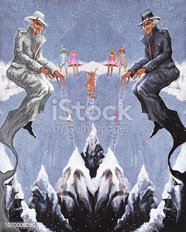 Fashionable illustration my original oil painting on canvas artwork winter mountains and travelers climbers in the form of Harlequins conquering snowy peaks against the sky and falling snowflakes
