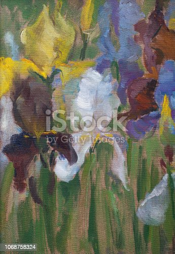 istock Fashionable illustration my original oil painting on canvas vertical still life iris flowers 1068758324