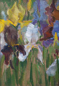 Fashionable illustration my original oil painting on canvas vertical still life iris flowers against the background of leaves of stalks and grass