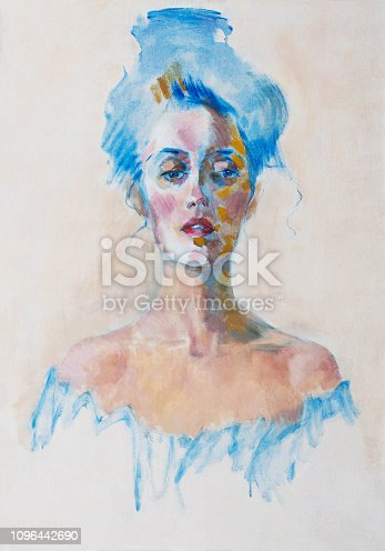 Fashionable illustration of a modern work of art my original oil painting on canvas portrait of a beautiful woman with an open neckline and long hair tied in a modern style knot in gentle light colors on a white background
