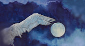 Fashionable illustration of a work of art landscape painting impressionism watercolor full moon flying free bird