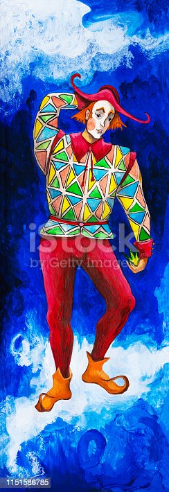 Fashionable illustration of an allegory of modern art Impressionism painting symbolic composition my original oil painting on canvas vertical portrait figure fairy tale character Harlequin dancing on a cloud in a theatrical costume from colorful patches of rhombuses red tights brown leather shoes with bright make-up and a red triangle against a bright night blue sky and light clouds