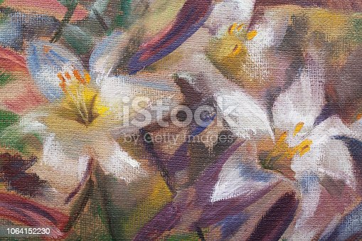 Fashionable illustration of my original painting summer still life blooming white lilies with highlights of sunlight on a background of bright green