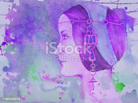istock Fashionable illustration of original artwork art author's drawing pencil portrait fantasy in renaissance style female profile with ornaments of gems and gold 1160200379