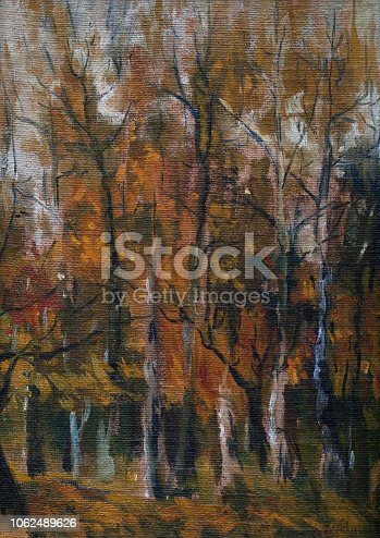 Fashionable illustration of the author's oil painting on canvas of the artist landscape autumn forest trees with yellow leaves against a gray sky