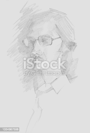 istock Fashionable illustration original work of art graphic pencil portrait of a young man with glasses 1054967558