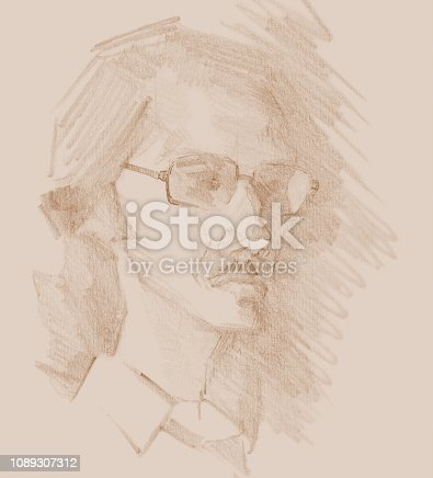 istock Fashionable illustration original work of art graphic sepia pencil portrait of a young man with glasses 1089307312