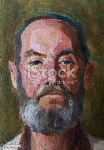Fashionable illustration original work of art my modern painting impressionism vertical portrait of a strict elderly man with a beard on a greenish wall background