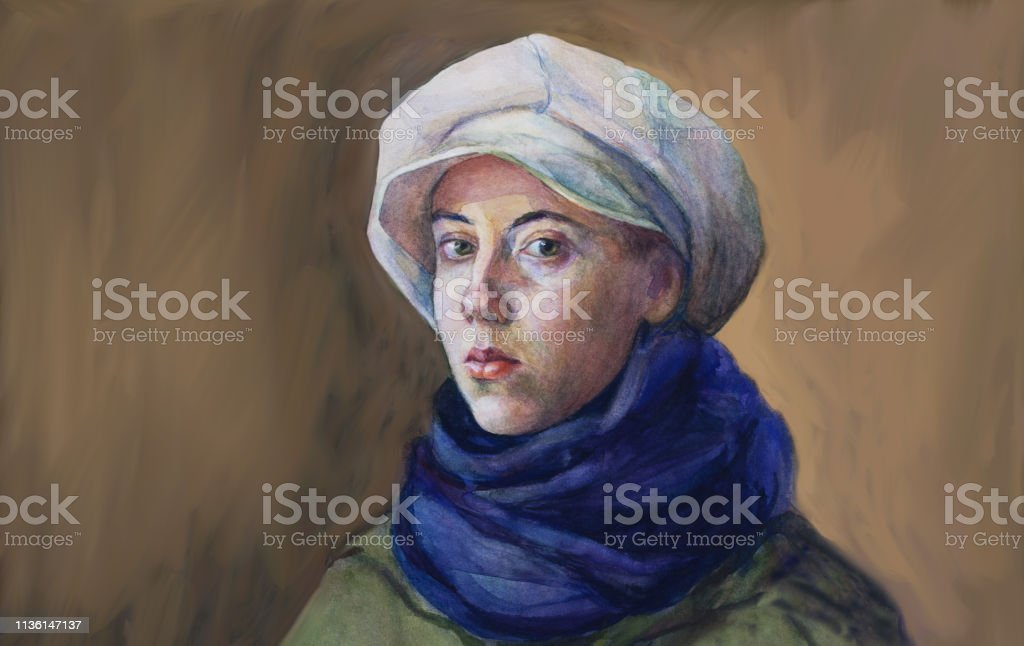Fashionable illustration original work of art painting watercolor horizontal autumnal portrait of a girl tender romantic seductive  with green eyes in a white cap blue woolen scarf and green cloak in classic style - Royalty-free Adolescente Ilustração de stock