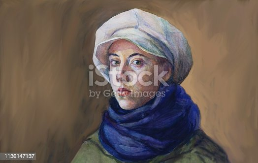 Fashionable illustration original work of art painting watercolor horizontal autumnal portrait of a girl tender romantic seductive with green eyes in a white cap blue woolen scarf and green cloak in classic style, on a brown background