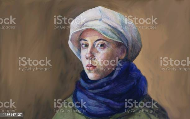 Fashionable Illustration Original Work Of Art Painting Watercolor Horizontal Autumnal Portrait Of A Girl Tender Romantic Seductive With Green Eyes In A White Cap Blue Woolen Scarf And Green Cloak In Classic Style - Arte vetorial de stock e mais imagens de Adolescente