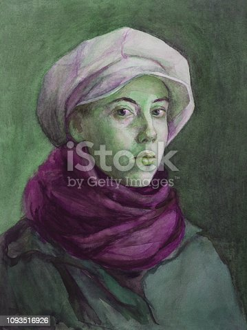 Fashionable illustration, original work of art, painting, watercolor, portrait of a girl, female students with green eyes, in a white cap, red woolen scarf and green cloak, in classic style, on a brown background