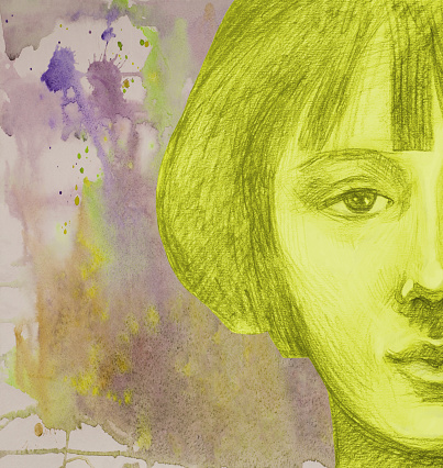 Fashionable  illustration work of art allegory of autumn watercolor painting entertainment portrait face impressionism  beautiful tender romantic girl with short  hair  retro hairstyle in shades of yellow color from spots of spreading watercolor paint