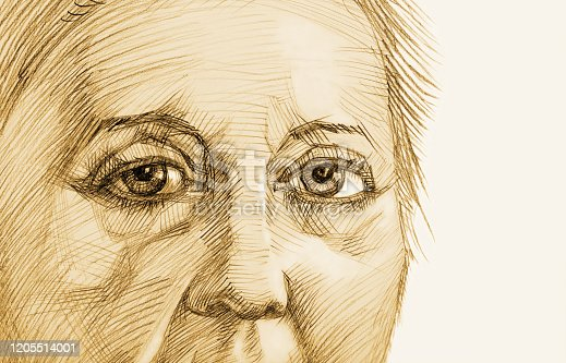 Fashionable retro illustration allegory  old age work of art my sepia pencil drawing on paper impressionism original horizontal symbolic isolated portrait face sad look old woman on white paper background