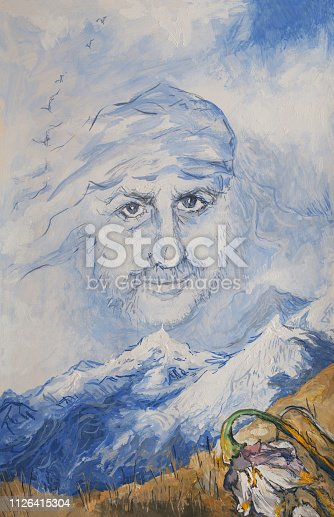 Fashionable spring illustration modern art work my original oil painting on canvas surrealism portrait of a man painted in the form of wind and clouds in the sky against a mountain landscape in spring with a field of flowers and snow-capped mountains in the distance